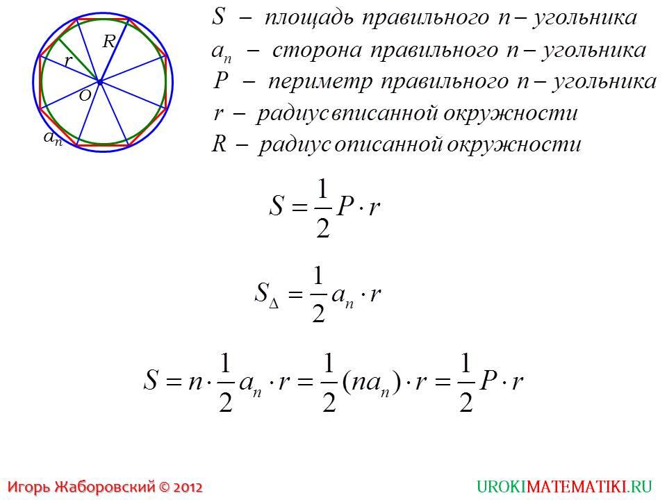 """Презентация """"Формула для вычисления площади правильного многоугольника, его сторон и радиуса вписанной окружности"""""""