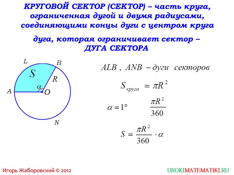 "Презентация ""Площадь кругового сектора"""