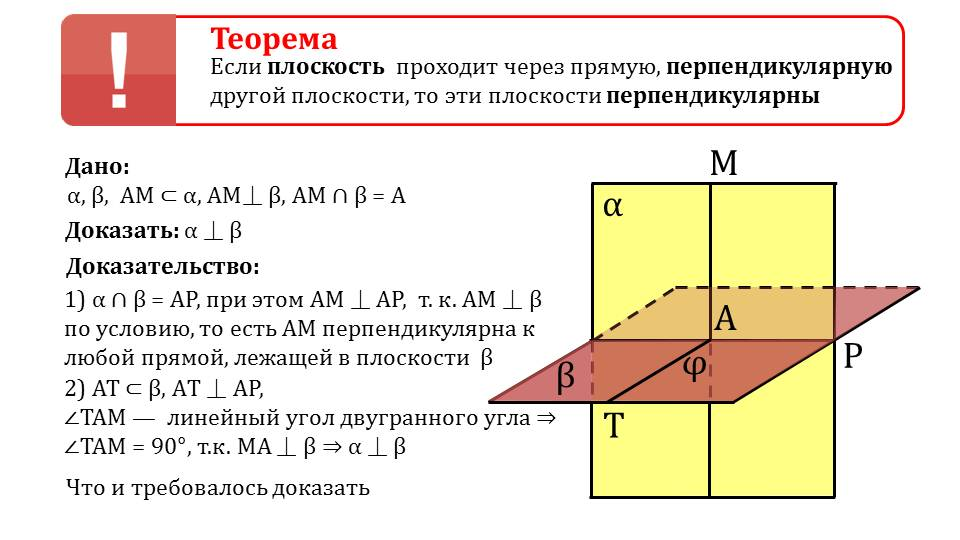 "Презентация ""Признак перпендикулярности двух плоскостей"""