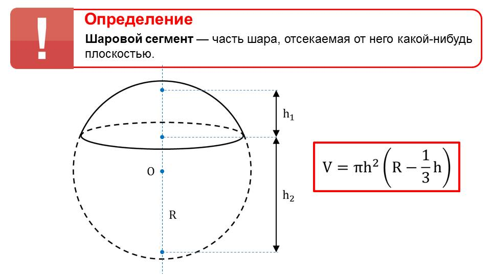 """Презентация """"Объемы шарового сегмента, шарового слоя и шарового сектора"""""""