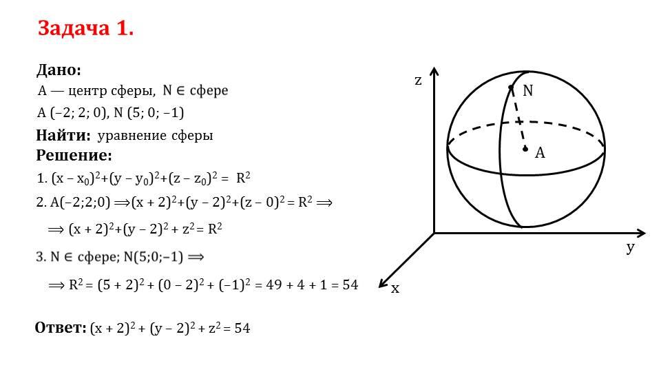 """Презентация """"Сфера. Уравнение сферы"""""""