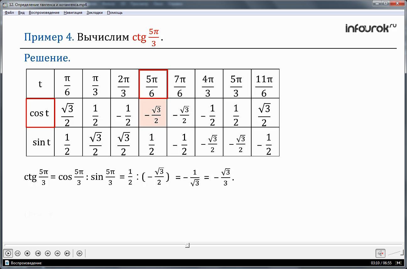 """Урок """"Вычисление тангенса и котангенса"""""""