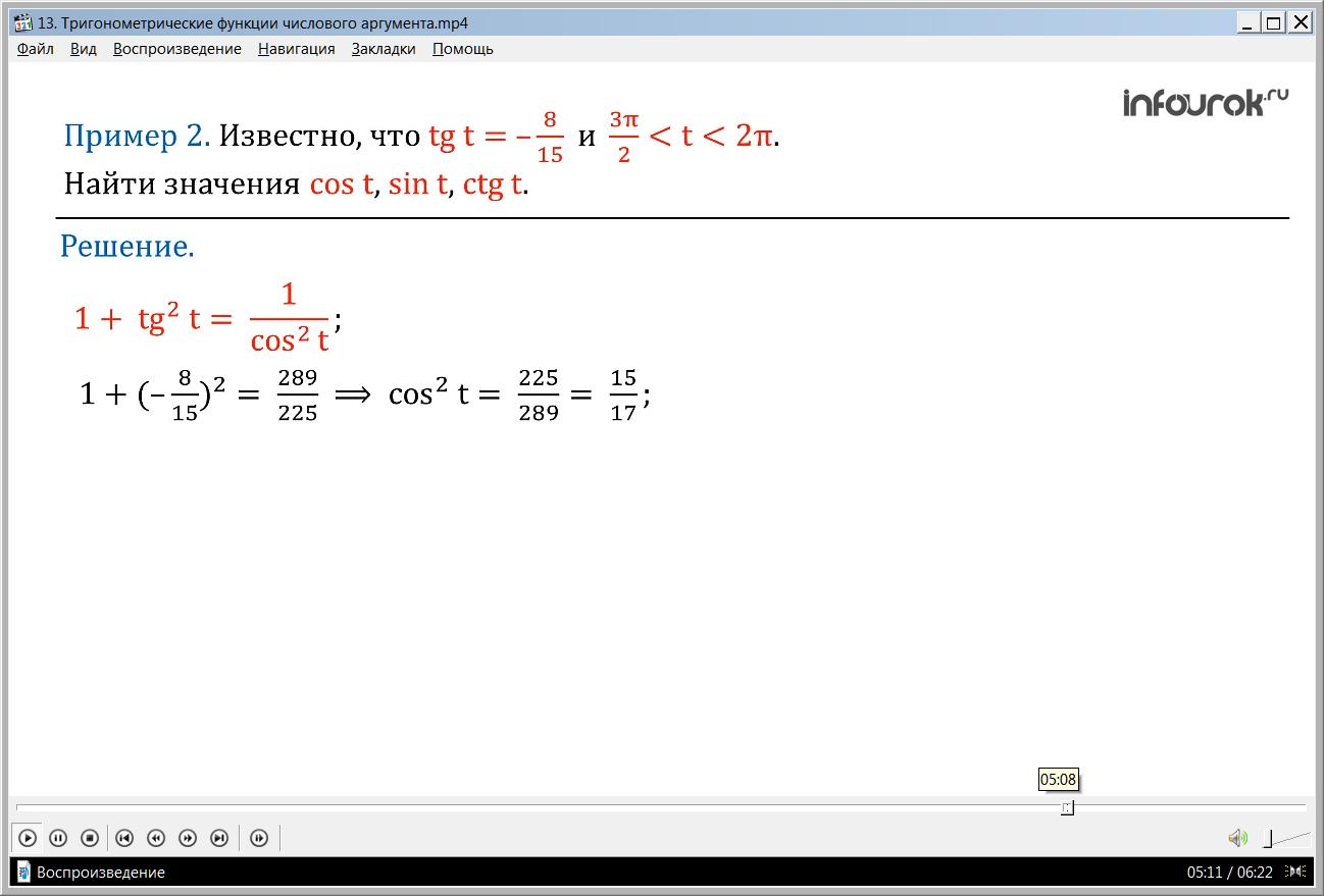 """Урок """"Тригонометрические функции числового аргумента"""""""