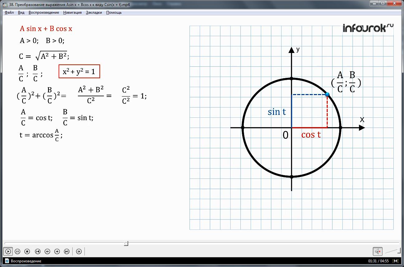 "Урок ""Преобразование выражения A sin x + В cos x к виду С sin(х + t)"""