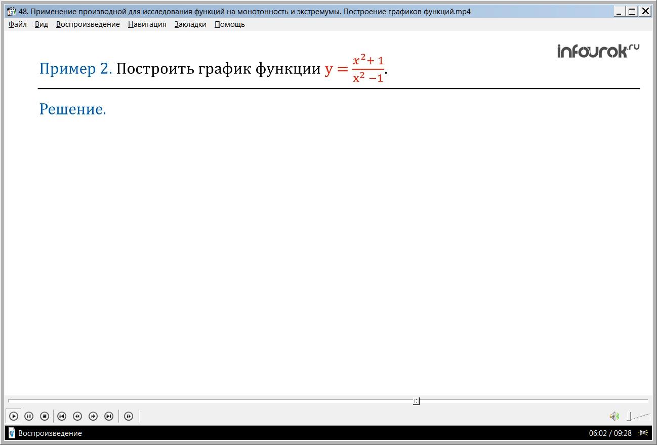 """Урок """"Применение производной в исследовании функций. Построение графика функции"""""""