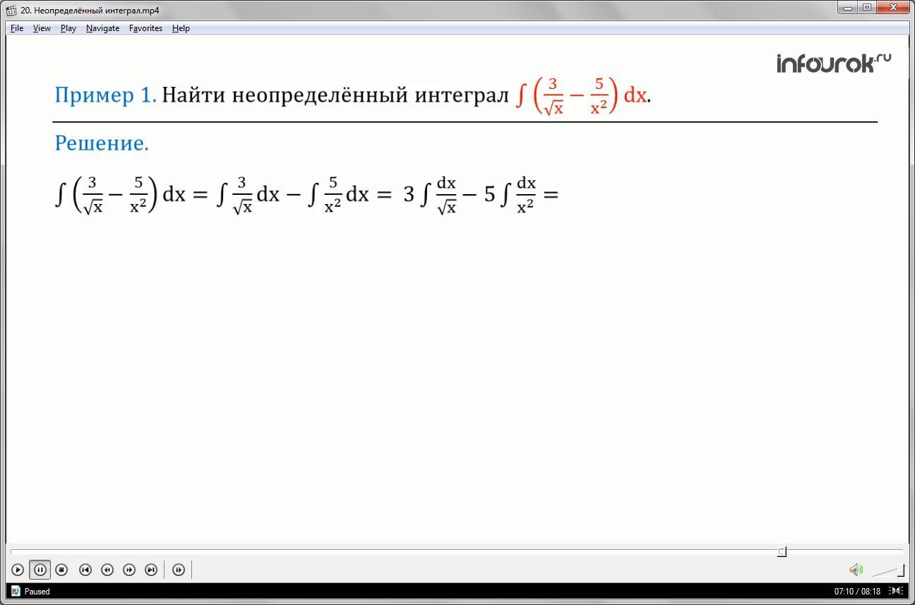 Урок «Неопределённый интеграл»