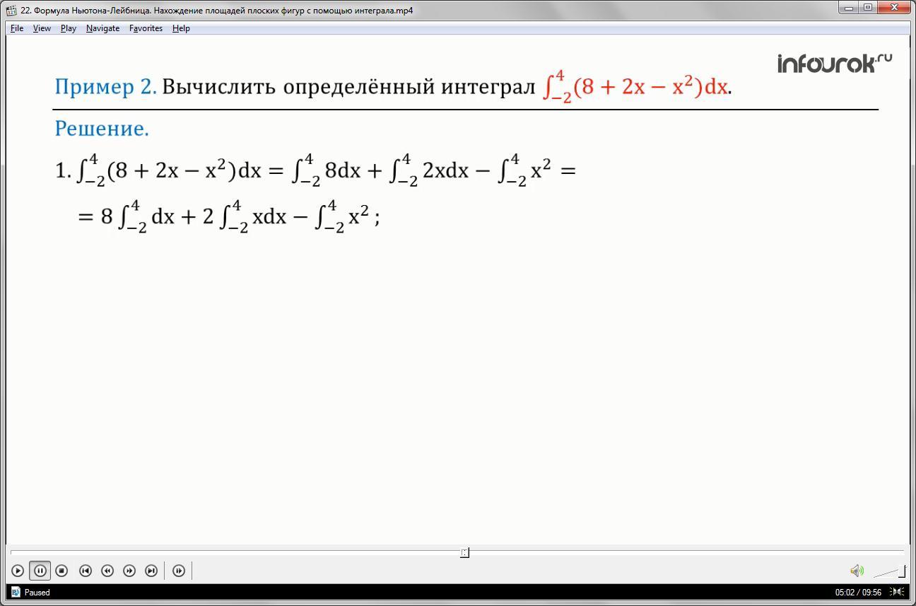 Урок «Формула Ньютона-Лейбница. Нахождение площадей плоских фигур с помощью интеграла»