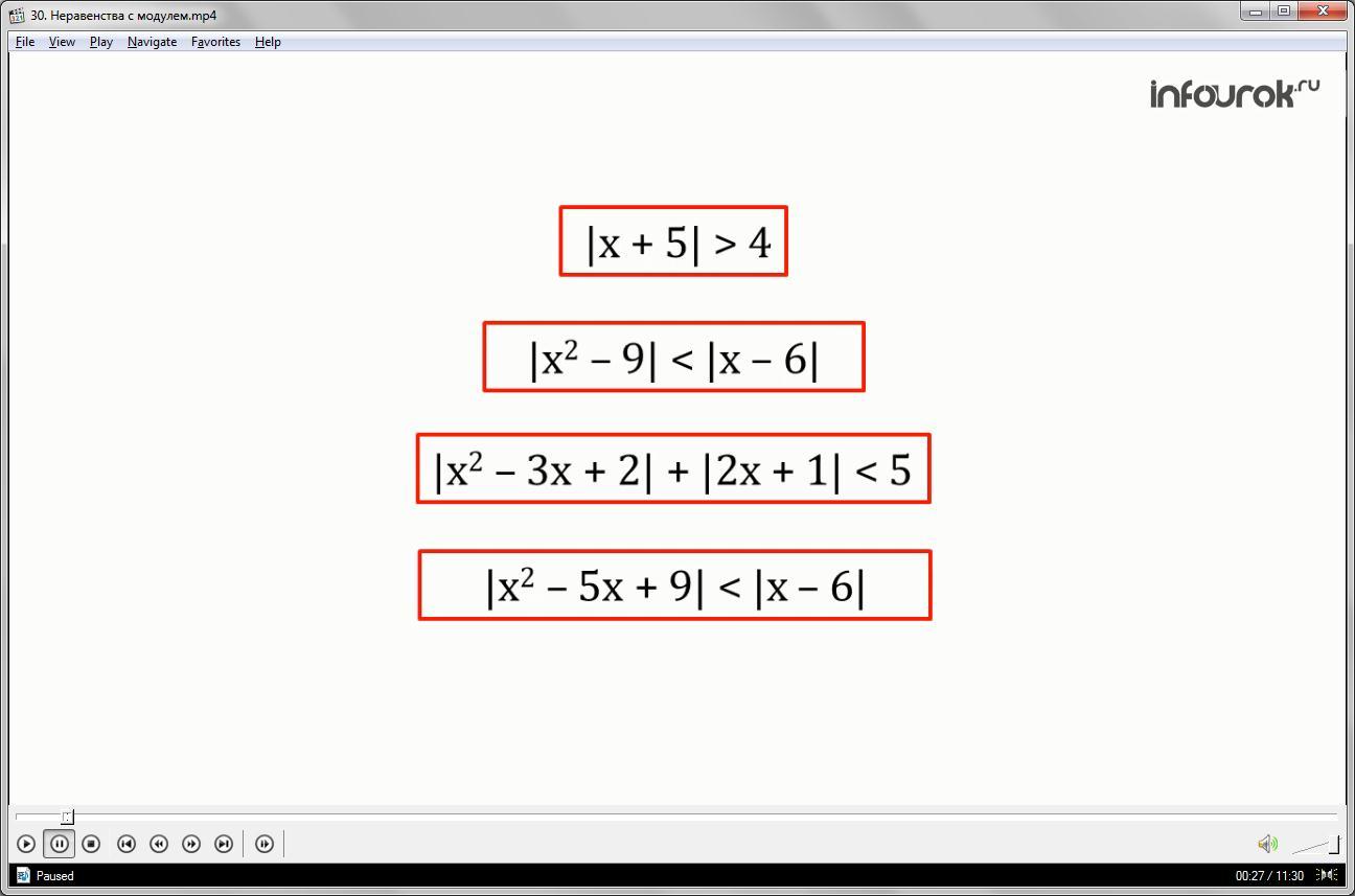 Урок «Неравенства с модулем»