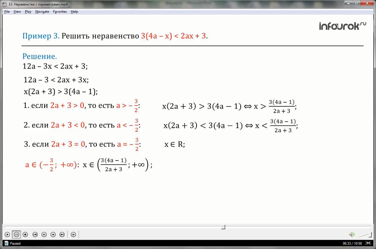Урок «Неравенства с параметрами»
