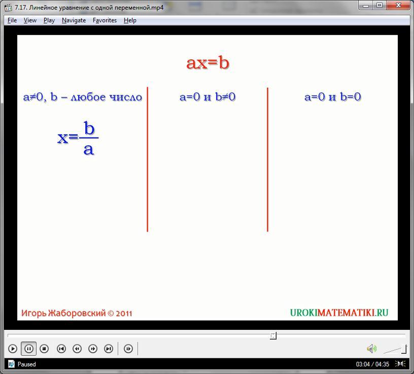 """Урок """"Линейное уравнение с одной переменной"""""""