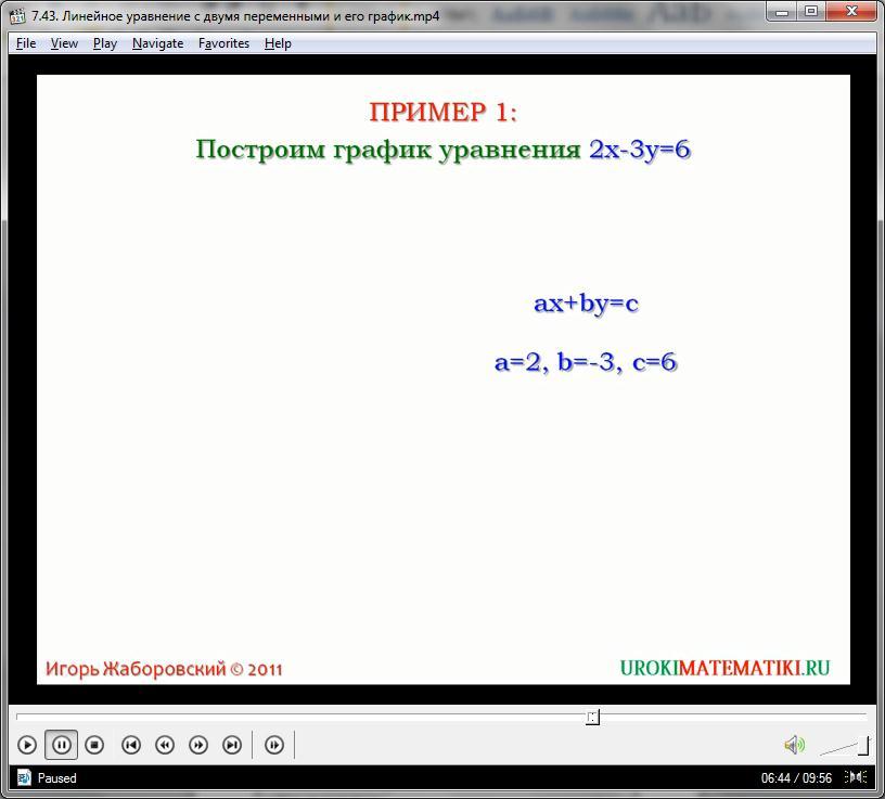 """Урок """"Линейное уравнение с двумя переменными и его график"""""""