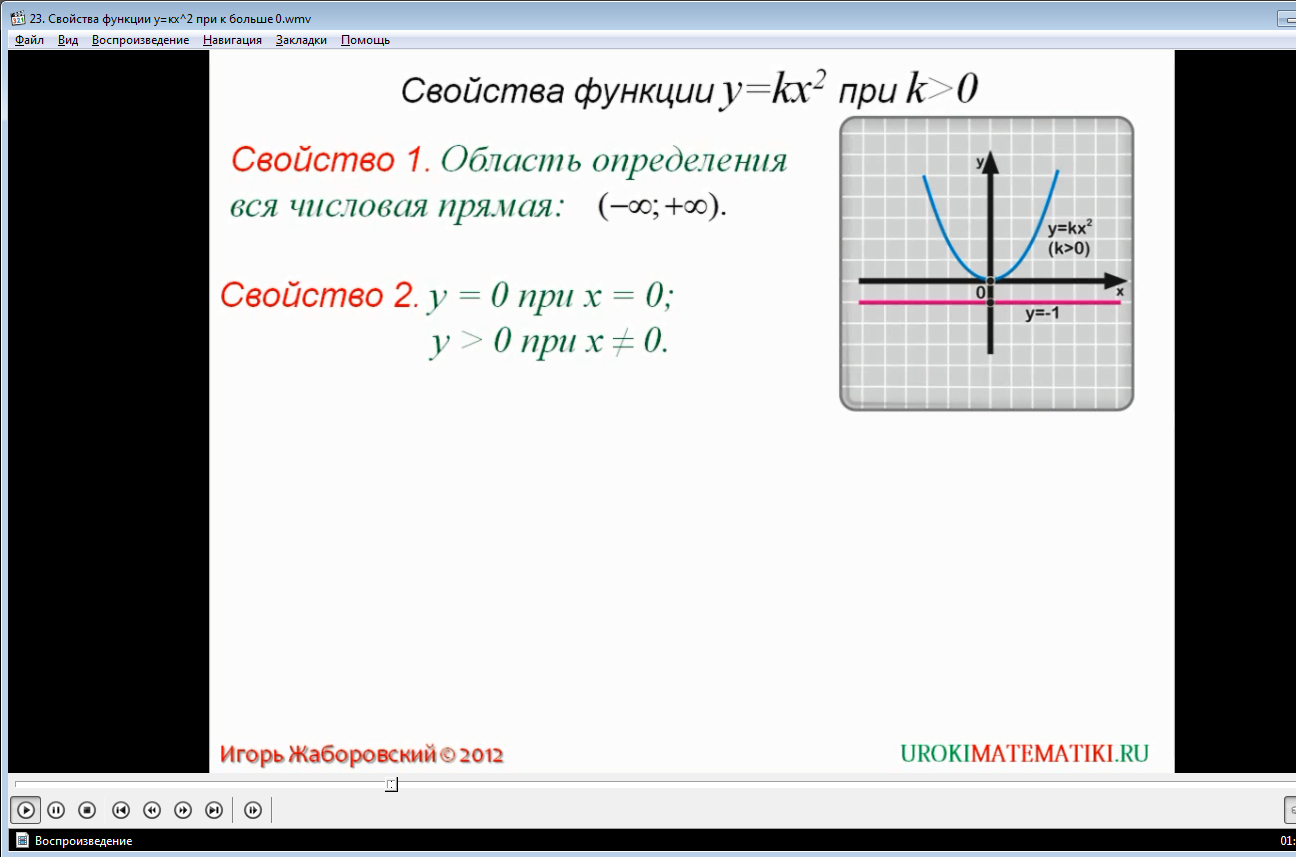 """Урок """"Свойства функции y=kx^2 при k больше 0"""""""