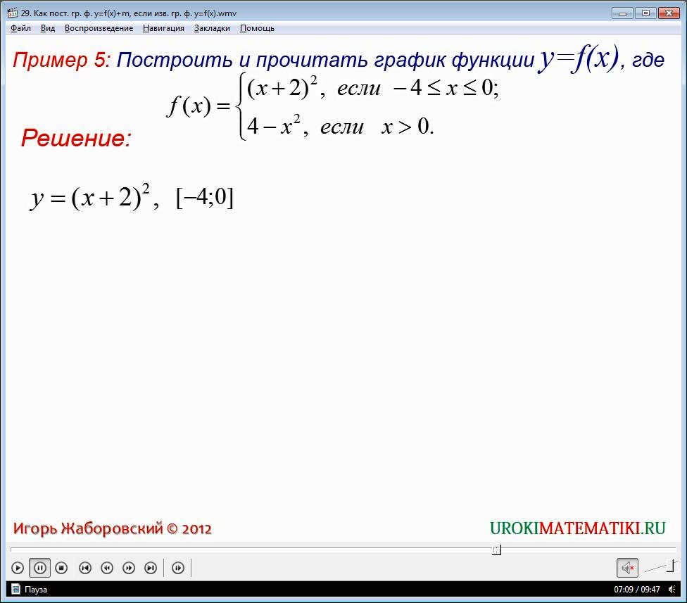 """Урок """"Как построить график функции у=f(x)+m, если известен график функции у=f(x)"""""""