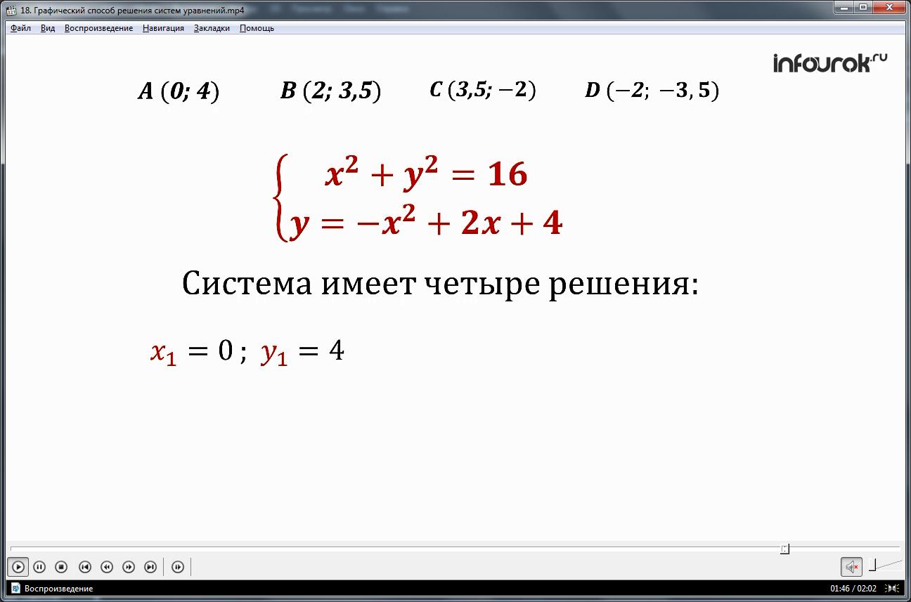Урок «Графический способ решения систем уравнений»