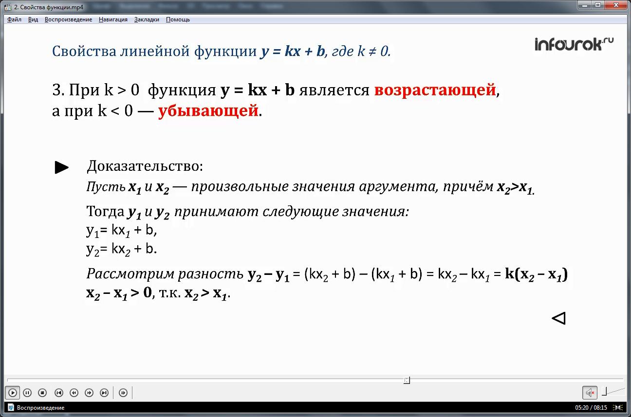 Урок «Свойства функции»