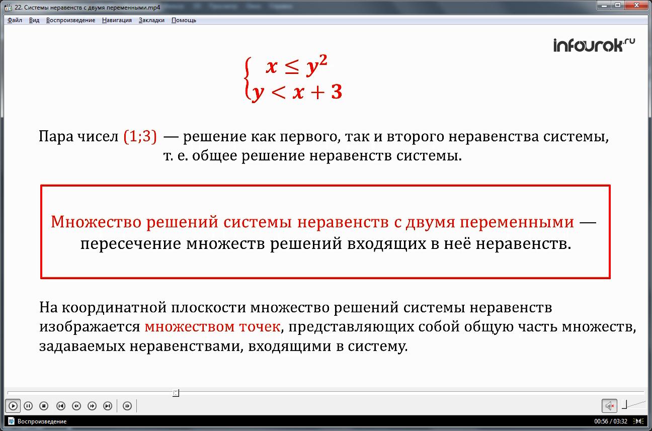 Урок «Системы неравенств с двумя переменными»
