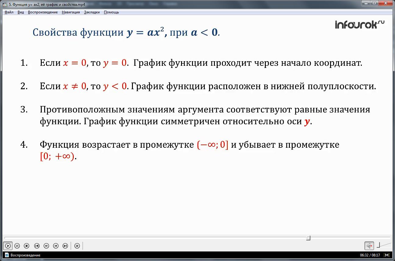Урок «Функция y=ax^2, ее график и свойства»