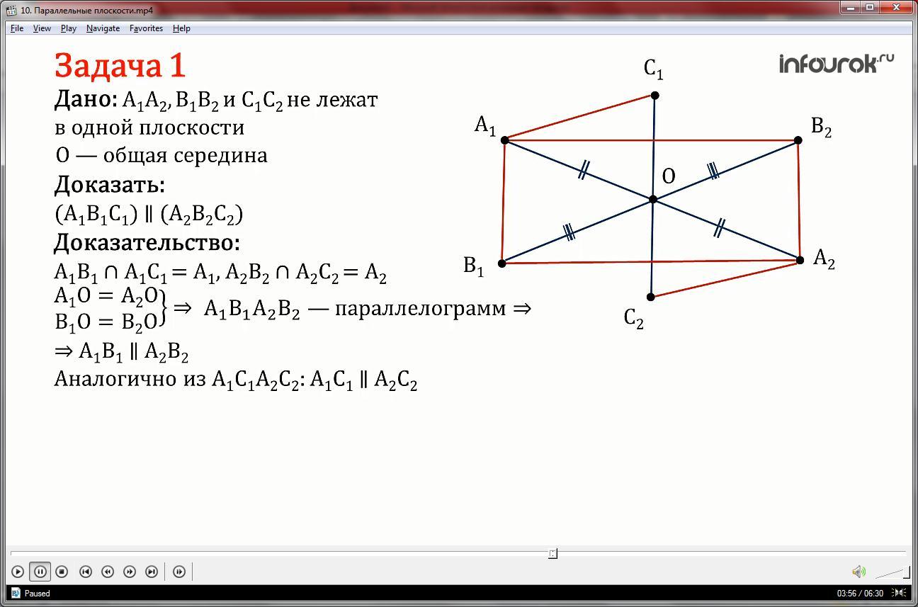 Урок «Параллельные плоскости»