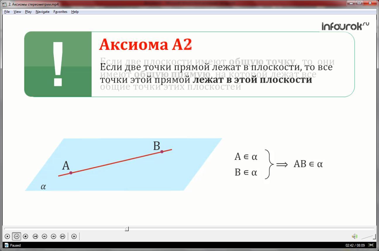 Урок «Аксиомы стереометрии»