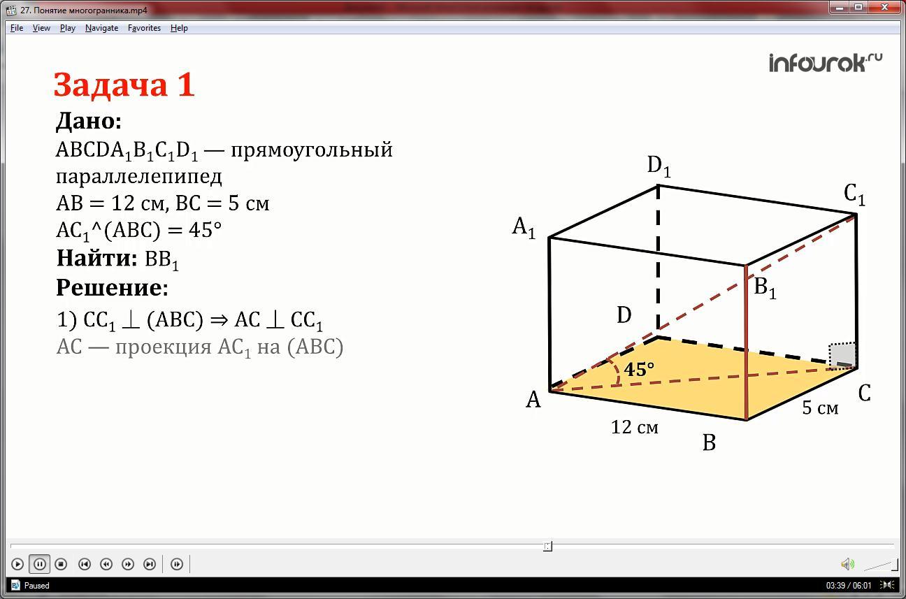 Урок «Понятие многогранника»