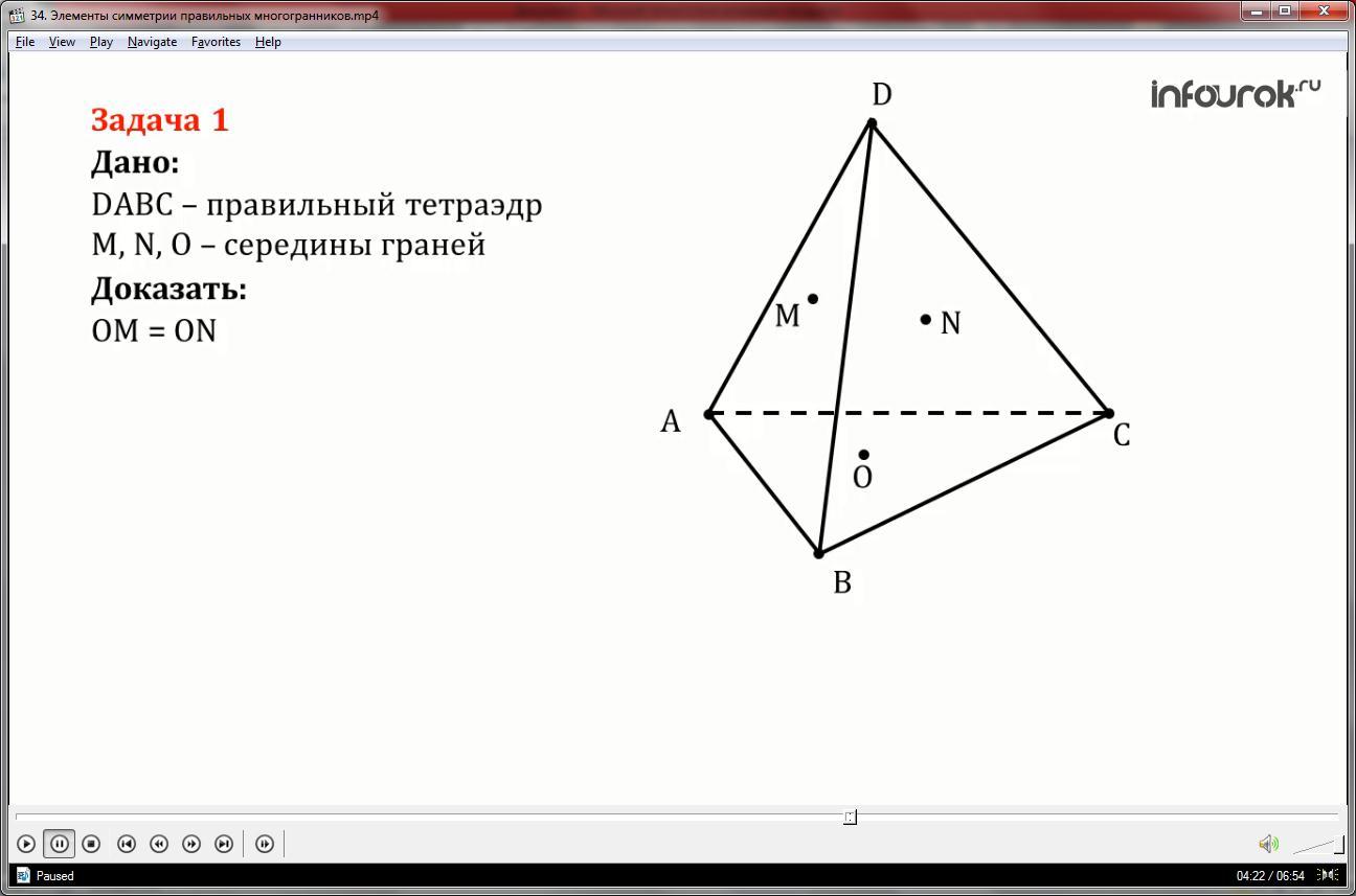 Урок «Элементы симметрии правильных многогранников»
