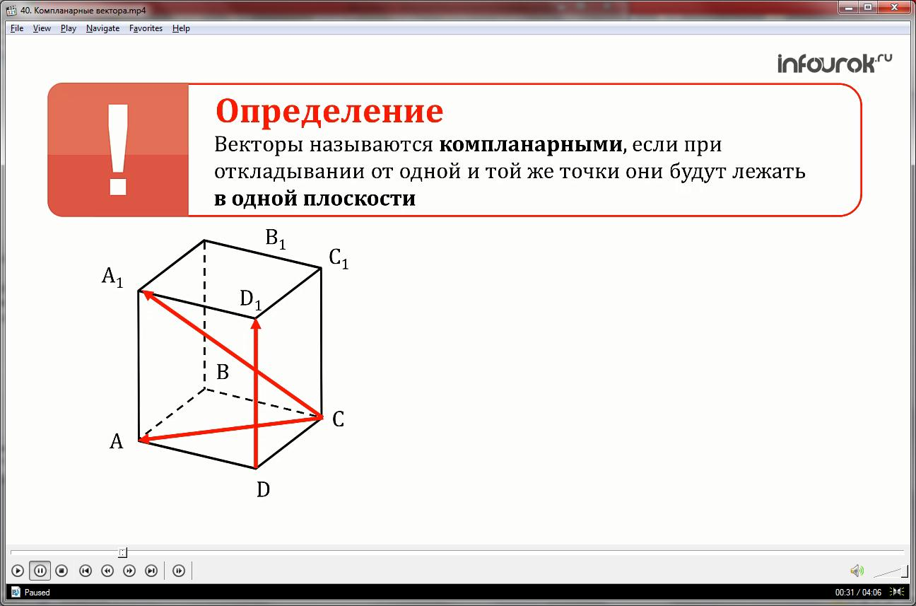 Урок «Компланарные вектора»