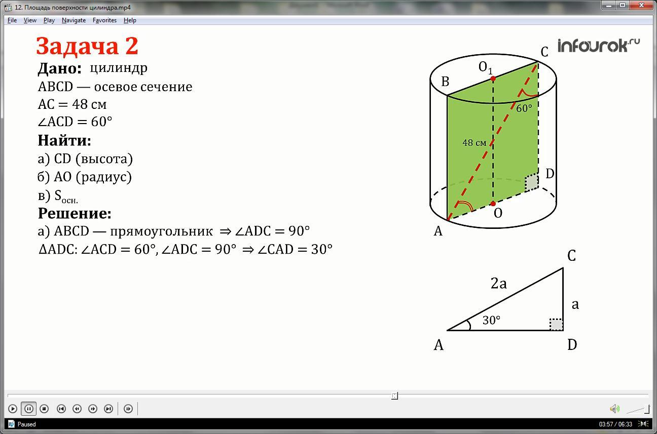 Урок «Площадь поверхности цилиндра»