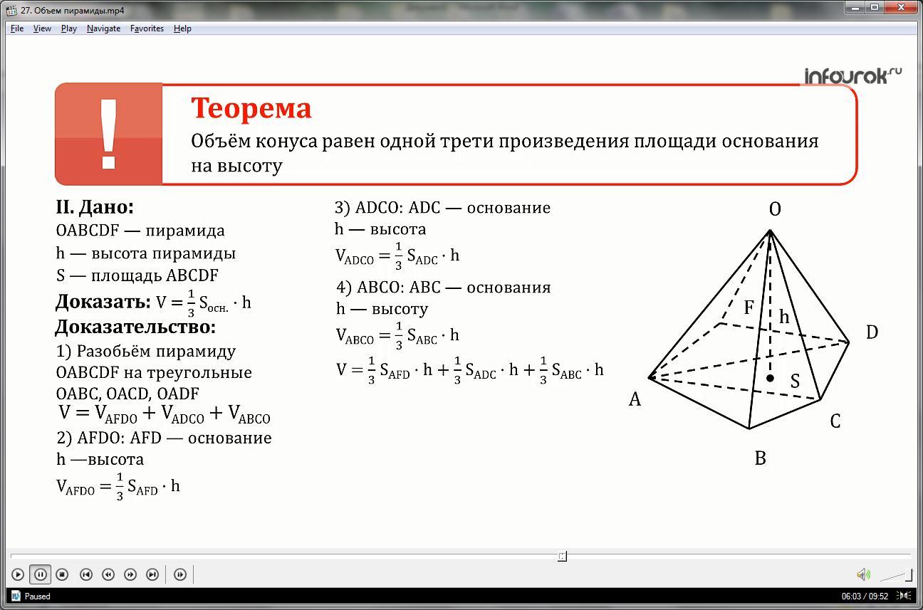 Урок «Объем пирамиды»