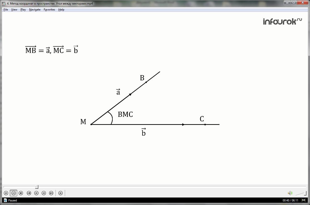 Урок «Метод координат в пространстве. Угол между векторами»