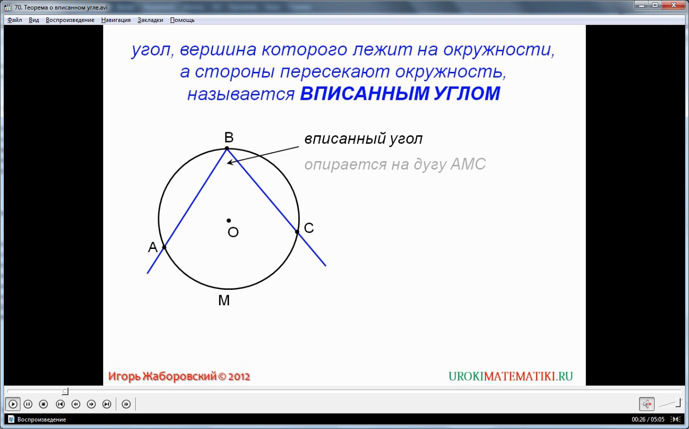 "Урок ""Теорема о вписанном угле"""