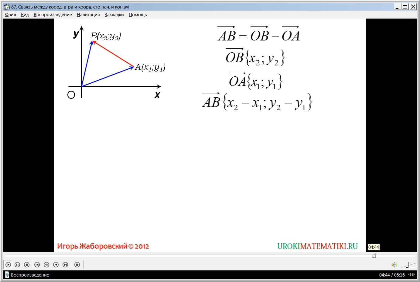"""Урок """"Связь между координатами вектора и координатами его начала и конца"""""""