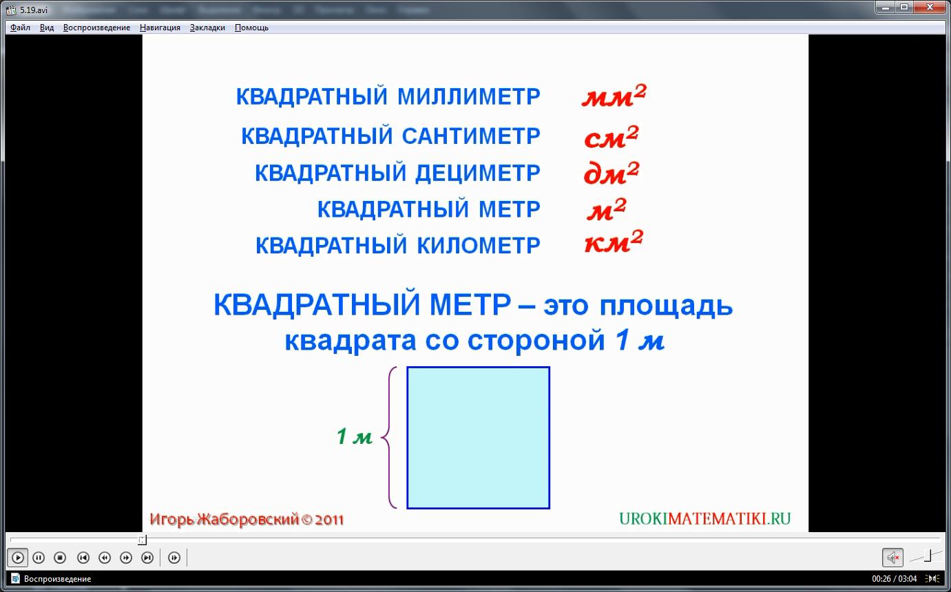 """Урок """"Единицы измерения площадей"""""""
