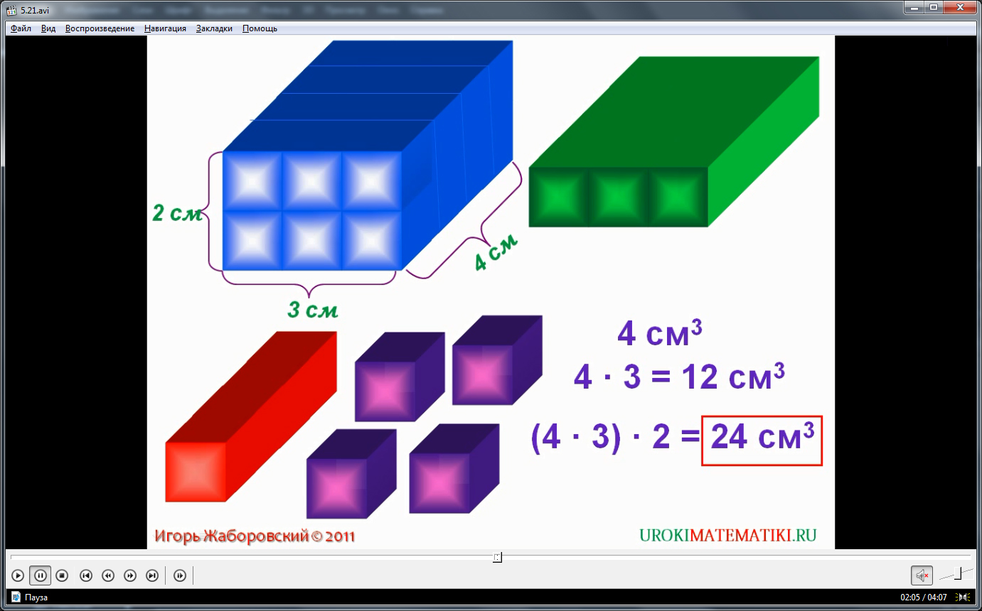 "Урок ""Объемы. Объем прямоугольного параллелепипеда"""