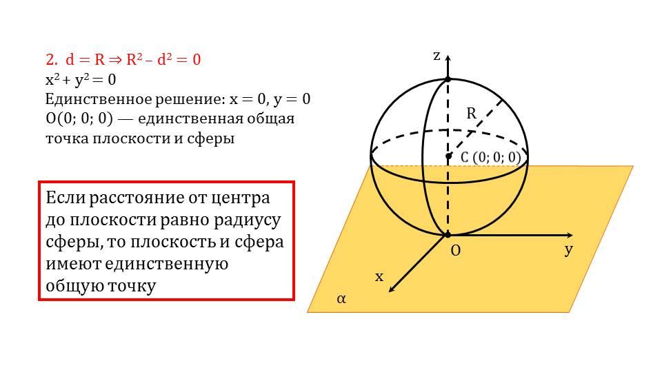 """Презентация """"Взаимное расположение сферы и плоскости"""""""