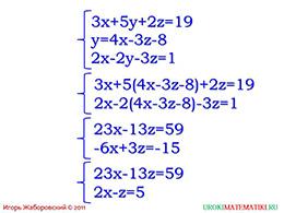 """Презентация """"Система линейных уравнений с тремя переменными"""" слайд 5"""