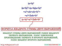 """Презентация """"Возведение в квадрат суммы и разности"""" слайд 2"""
