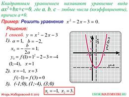 """Презентация """"Графическое решение квадратных уравнений"""" слайд 2"""