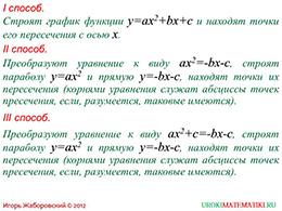 """Презентация """"Графическое решение квадратных уравнений"""" слайд 7"""