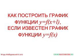 """Презентация """"Как построить график функции у=f(x+l), если известен график функции у=f(x)"""" слайд 1"""