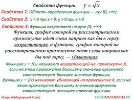 "Презентация ""Свойства функции y=√x"" слайд 2"